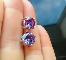 925 Sterling Silver. Amethyst Cushion earrings. Boxed. Queen Victoria inspired.