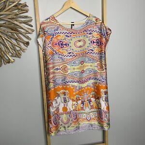 JJ Sisters Size S - M Satin Elephant Dress Orange Slip *Faults: fine pulls snags