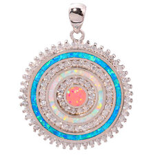 "Blue White Pink Fire Opal CZ Silver for Women Jewelry Gems Pendant 1 1/2"" OD6160"