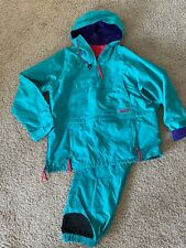 Vintage Mens XL Columbia Snow Suit Pants Jacket Teal Blue Pink Purple Nylon