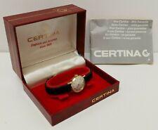 Vtg 1982 Certina 17J Ladies Gold Plate Wrist Watch Cal 19-30 Box & Instructions