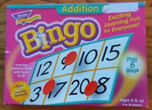 Trend Addition Bingo Game - practice addition skills for fun with 6 yr. up mint