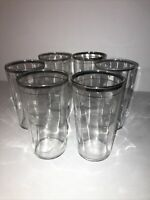 Vintage Silver Banded Highball Drinking Glasses Ribbed Set of 6 MCM Barware