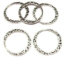 5pcs Antique Silver Hammered Ring Charm Pendants 30mm Tibetan Alloy Charm A501-3