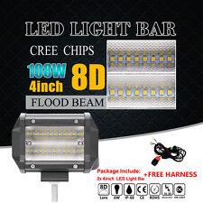 2x 4'' INCH 108W QUAD ROW CREE LED DRIVING LIGHT BAR FLOOD Offroad 4X4WD TRUCK