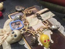 Vintage SKULL Celluloid Charm Bracelet Bonus Charms Halloween Cracker Jack