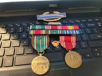 WW2 MEDALS RIBBONS ON RACK  STERLING SILVER CIB --SEE STORE WW2 MEDALS RIBBONS !