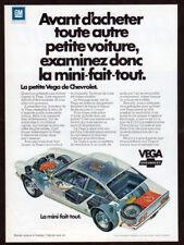 1972 CHEVROLET Vega Vintage Original Print AD - White car art French Canada
