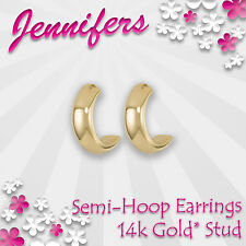 Gold Semi Hoop Earrings Stud 14c* Semi Loop Circle Small Studs Earring Jewellery
