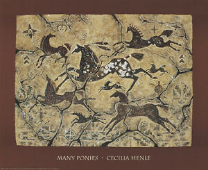 Many Ponies Art Print by Cecilia Henle - Horses Native American