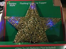 Holiday Style 11 in gold Flashing LED light Christmas Tree Topper with timer