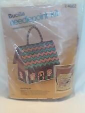 Vintage Bucilla Gingerbread House Needlepoint Kit Handbag Crewel 4662 Christmas