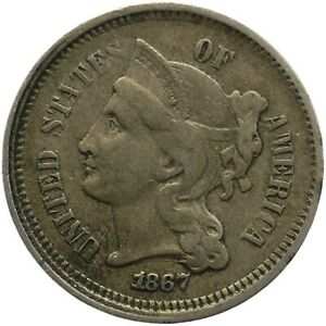 1867 3 Cents Nickel United States Coin (MO2093-)