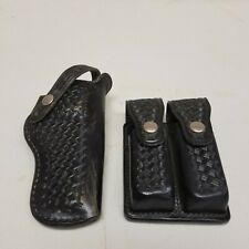Bianchi Black Basketweave Pattern Leather Gun/Knife Holster