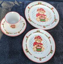 Vintage Christmas Theodore the Bear Dishes, Tienshen Plates Cups Bowls Saucers