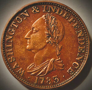 "1783~No Button~""Washington and Independence""~COLONIAL TOKEN-RD/BN"