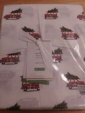 Nwt Pottery Barn Woody Car Organic Percale Queen Sheet Set Vintage Christmas