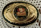 MINT VINTAGE 49ER'S BELT BUCKLE GOLD FLAKES SET IN RESIN FREE SHIPPING IN USA