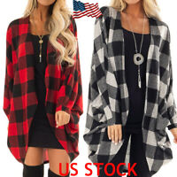 Women Batwing Sleeve Plaid Long Coat Casual Loose Outwear Open Front Cardigan US