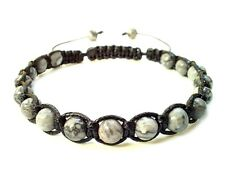 men's bracelet braided wristband Grey Map Stone beads shamballa adjustable gift