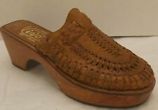 sz 9 ladies vintage 70's brown woven leather VIVO'S wooden platform clogs shoes
