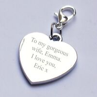Engravable Heart Charm for Wife 2 Sides Engraving any Message/Wording/Date Gift