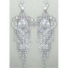 Silver Chandelier Earrings with Clear Rhinestones Clip On 5""