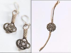Lot set: Handmade Turkish Kazaziye Bracelet + Earrings 999 Silver Braided