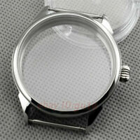 42mm Sterile Sliver Exhibition Watch Case Fit 6497 6498 Seagull ST36 Movement 01