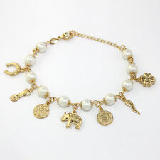 "14k Gold Filled Bracelet Pearl & Lucky Charms Beaded 7.5"" Women Jewelry Pulsera"