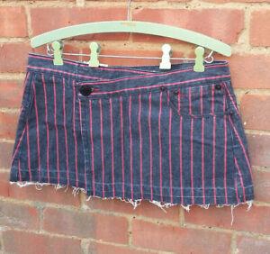 BEN SHERMAN Striped Denim Mini Skirt MEDIUM BNWT