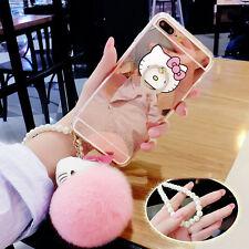 Adorable Hello Kitty Anillo soporte correa de perlas de bola de felpa de Piel de Conejo Espejo Funda