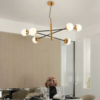 6-Lights Modern Sputnik Chandelier G9 Ceiling Pendant Lamp Glass Bubble Fixtures