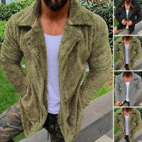Mens Warm Fluffy Fleece Hooded Coat Single Breasted Jacket Outwear Cardigans Top