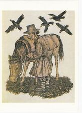 peasant with horse ravens rare old russian soviet postcard by V. Slauk