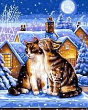 A Winter's Night Cats Tapestry Needlepoint Canvas
