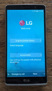 LG G Stylo H634 (Silver 8GB), Cricket, Cracked Glass, Works, Reset