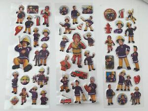 3 sheets set Fireman Sam puffy Stickers Birthday gift loot bag kids craft