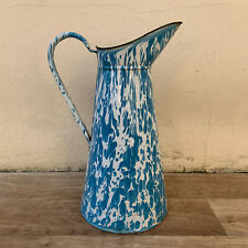 Vintage French Enamel pitcher jug water enameled white blue marbled 0603192