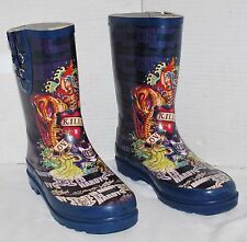 Ed Hardy Love Kills Slowly Rubber Boots Kids Size 4 GUC