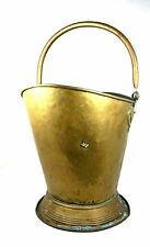 Antique Victorian Brass Coal Scuttle Log Basket Helmet Shaped Swing Handle Large