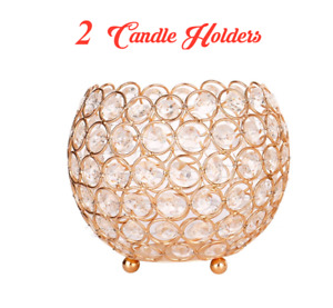 2 Extra Large Classy Decorative Crystal Gold Candle Holders for Special Occasion