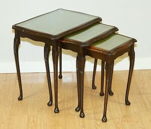 MAHOGANY NEST OF TABLES QUEEN ANNE STYLE LEGS WITH GREEN EMBOSSED LEATHER TOP