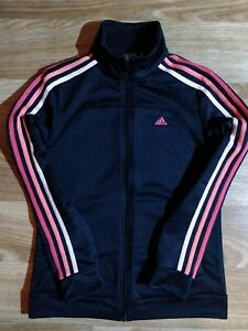 Adidas Essentials Womens Tracksuit Top Jacket Climalite Sweatshirt Black Pink
