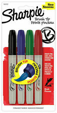 4 Pack SHARPIE Permanent Brush Tip Markers Pens - Rock Glass Painting Art Cards