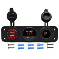 12V Dual USB Charger Power Socket & Red LED Voltmeter Switch Panel Car Boat RV