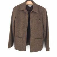 Talbots Collection Size 6 Zip Up Herringbone Wool Tweed Brown Blazer Jacket