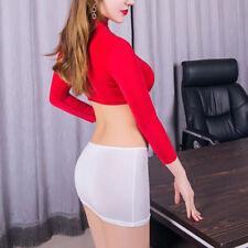 Hot Women's Lingerie Open Bust Crop Top Micro Skirt Bodycon Mini Dress Clubwear