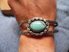 Turquoise & Stamped Sterling Silver Cuff Bracelet signed AT Navajo