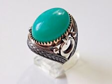 925 STERLING SILVER BRONZE HANDMADE BLUE TURQUOISE TURKISH MENS RING SIZE US 9.5
